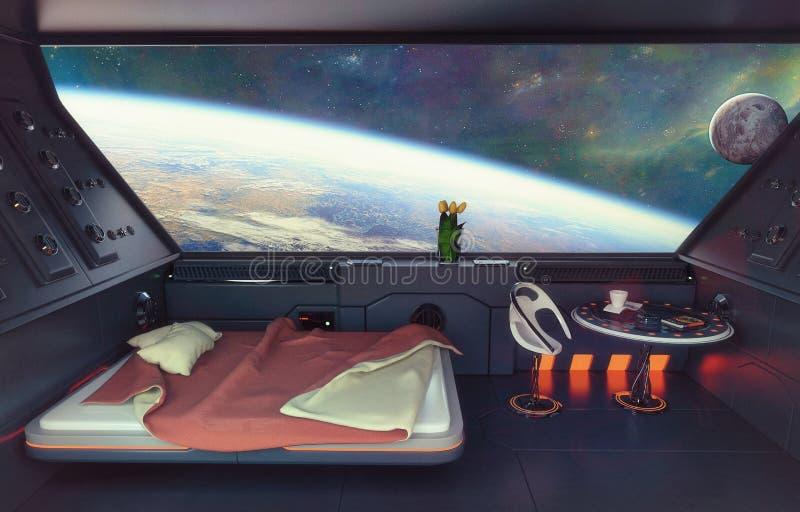 Interior del dormitorio de la ciencia ficción imágenes de archivo libres de regalías
