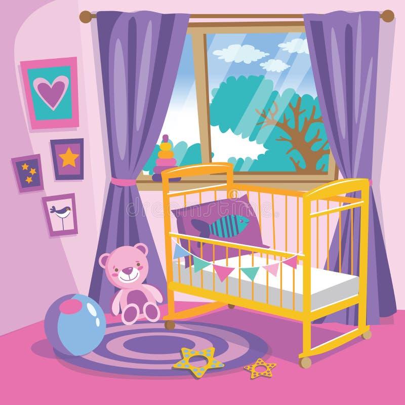 Interior del dormitorio de las muchachas Ejemplo plano del vector de la historieta del estilo Sitio del bebé en rosa Sitio del be ilustración del vector