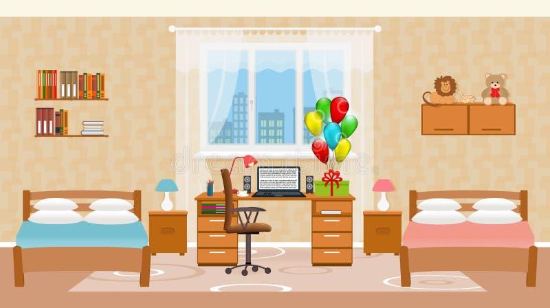 Interior del dormitorio de los niños con dos camas, globos del día de fiesta, los juguetes, la tabla con el equipo de escritorio  stock de ilustración