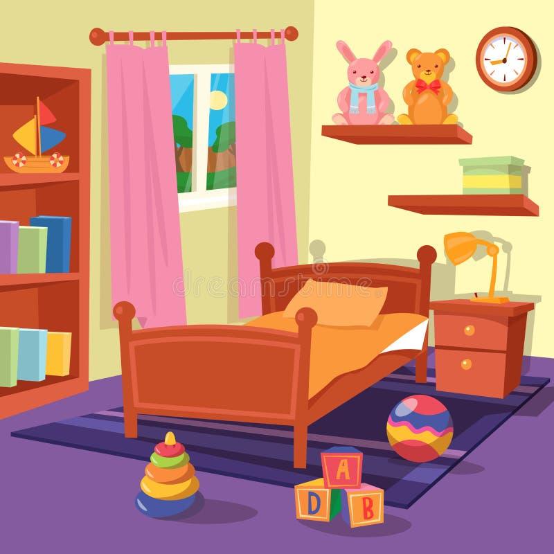 Interior del dormitorio de los niños Sitio de niños stock de ilustración