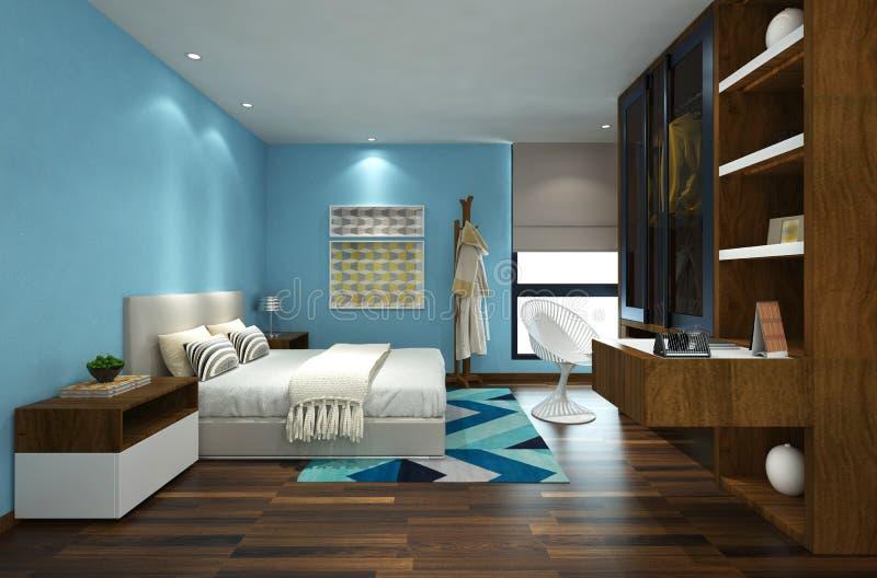 interior del dormitorio del ejemplo 3D stock de ilustración