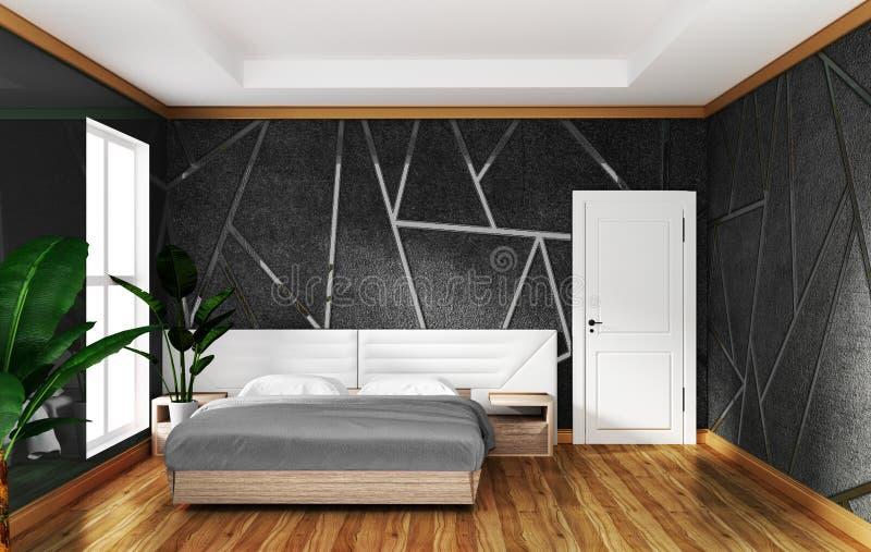 Interior del dormitorio del desván con el fondo concreto gris del moldeado, diseños mínimos representaci?n 3d libre illustration