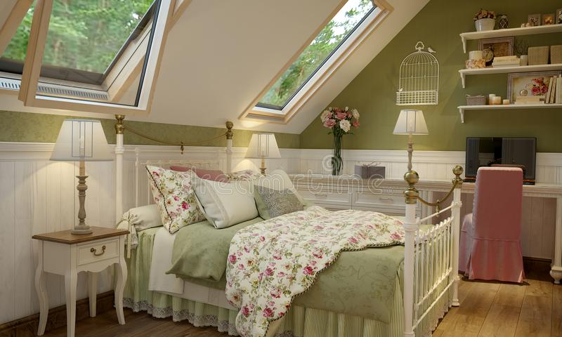 Interior del dormitorio en el verde del estilo de Provence ilustración del vector