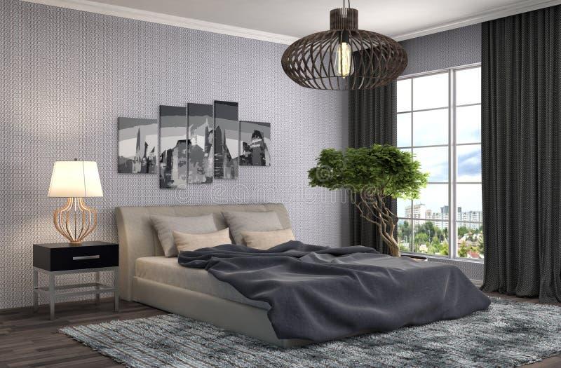 Interior del dormitorio ilustración 3D stock de ilustración