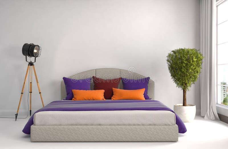 Interior del dormitorio ilustración 3D ilustración del vector