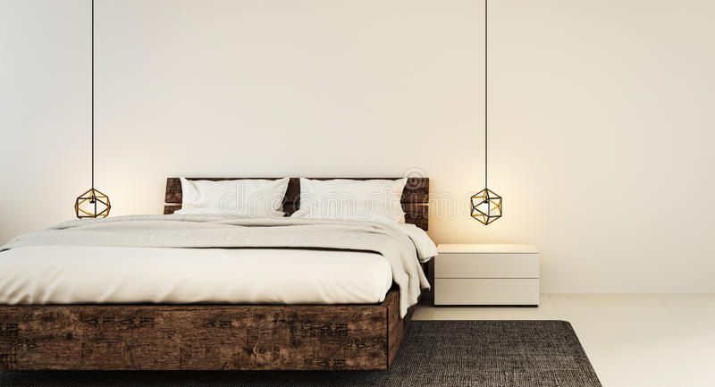 Interior del dormitorio para el dormitorio moderno del hogar y del hotel imagen de archivo