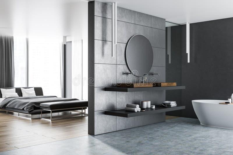 Interior del dormitorio principal y del cuarto de baño libre illustration