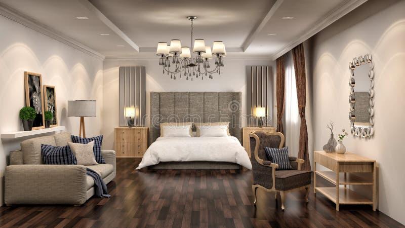 Interior del dormitorio y de la sala de estar ilustración 3D libre illustration