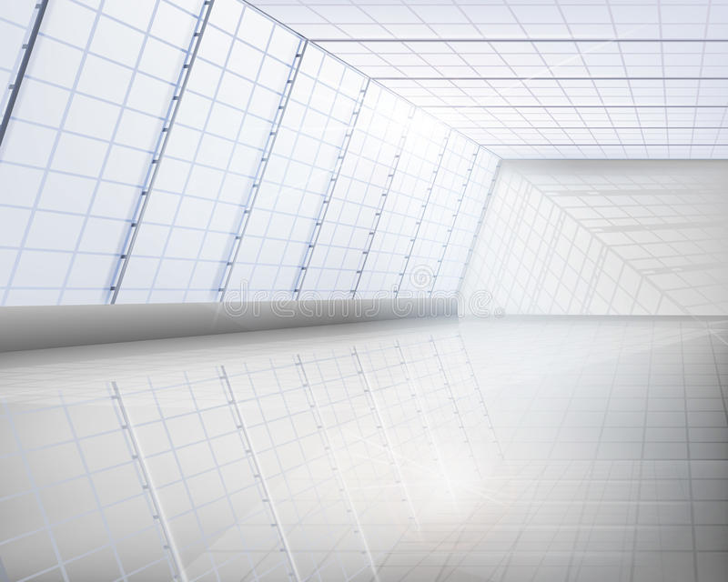 Interior del edificio de cristal stock de ilustración