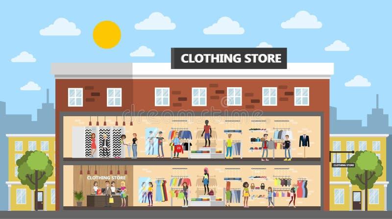 Interior del edificio de tienda de ropa libre illustration