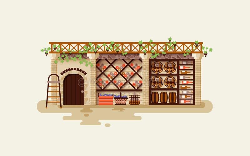 Interior del ejemplo de la bodega para que almacenan y de envejecimientos los barriles de las botellas de whisky, bebidas alcohól ilustración del vector