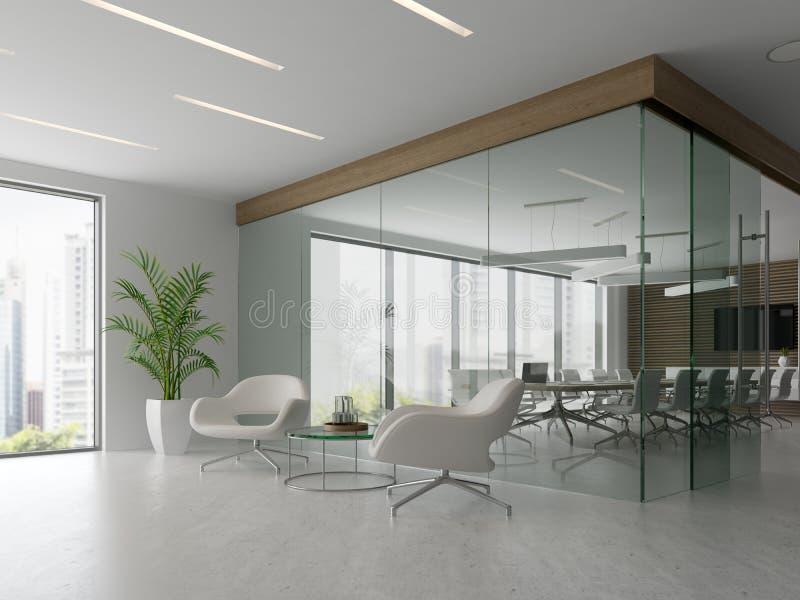 Interior del ejemplo de la sala 3D de la recepción y de reunión ilustración del vector