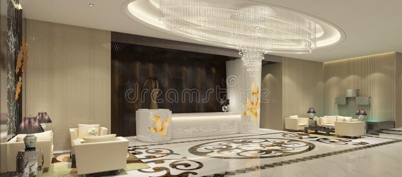 Interior del ejemplo del pasillo 3D de la recepción del hotel libre illustration