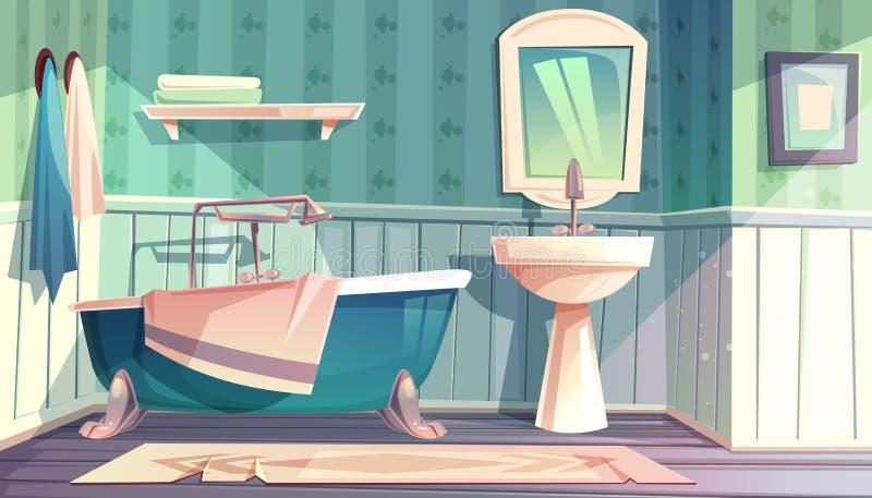 Interior del estilo del vintage de Provence del vector del cuarto de baño stock de ilustración