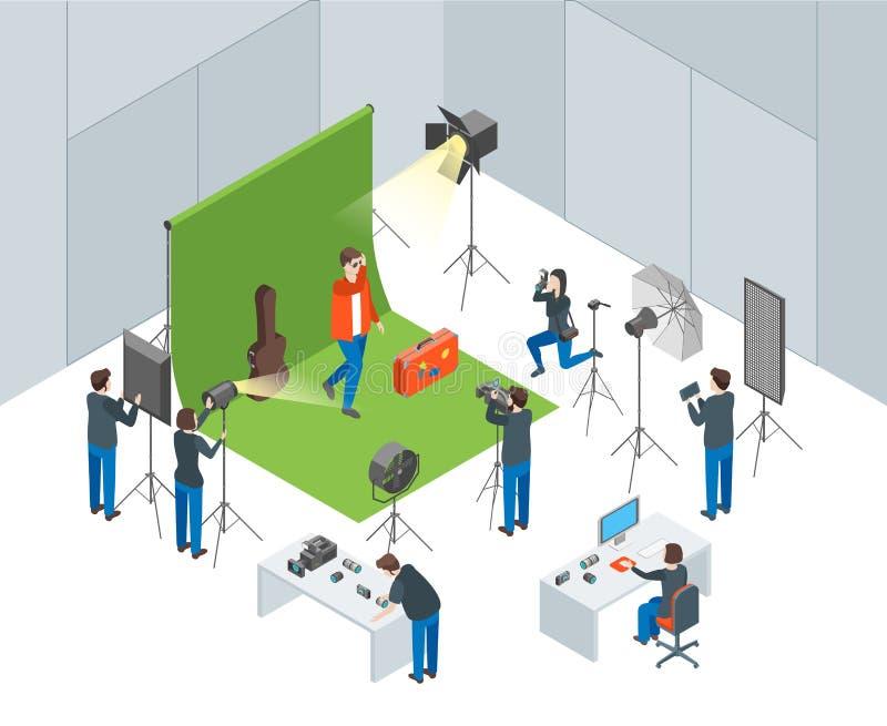 Interior del estudio de la foto con los operadores que tiran al actor Isometric View Vector libre illustration