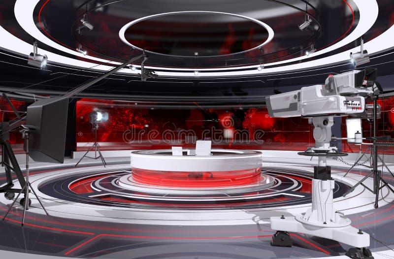Interior del estudio de la TV stock de ilustración