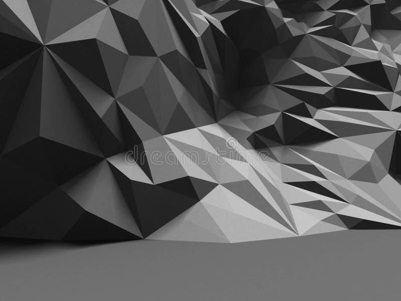 Interior del extracto con el modelo caótico poligonal de la pared fotos de archivo
