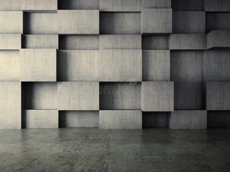 Interior del extracto del fondo del muro de cemento ilustración del vector