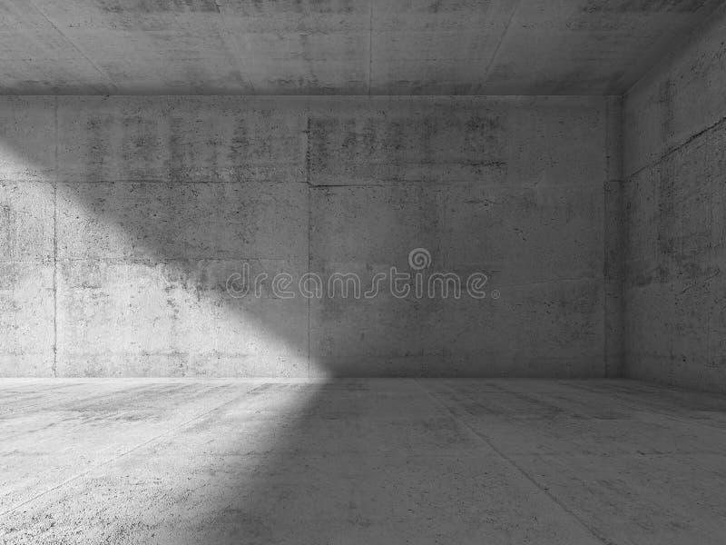 Interior del extracto del sitio concreto oscuro vacío ilustración del vector
