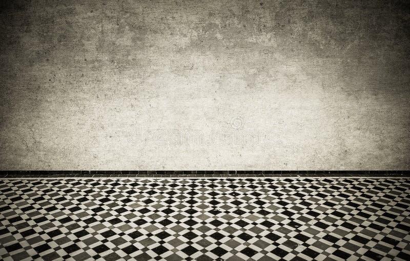 Interior del Grunge con el piso tejado marroquí del vintage libre illustration
