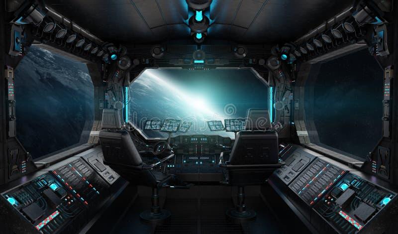 Interior del grunge de la nave espacial con la opinión sobre la tierra del planeta libre illustration