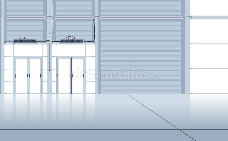 Interior del hangar. stock de ilustración