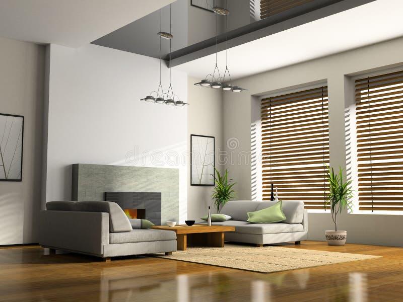 Interior del hogar con la chimenea ilustración del vector