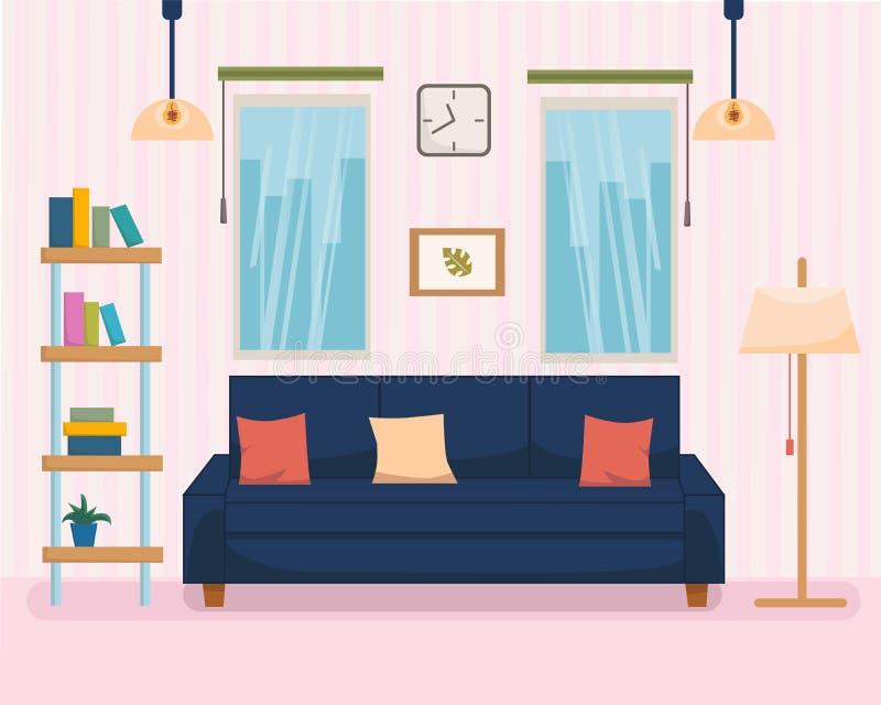 Interior del hogar con los muebles y el sofá, estante, lámpara con la tira en fondo Ejemplo plano del vector del estilo de la his ilustración del vector