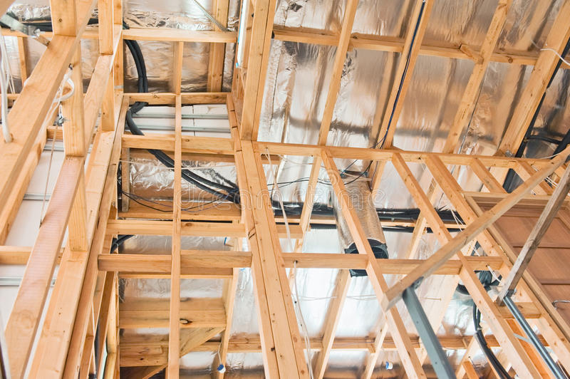 Interior del hogar de la construcción imagen de archivo