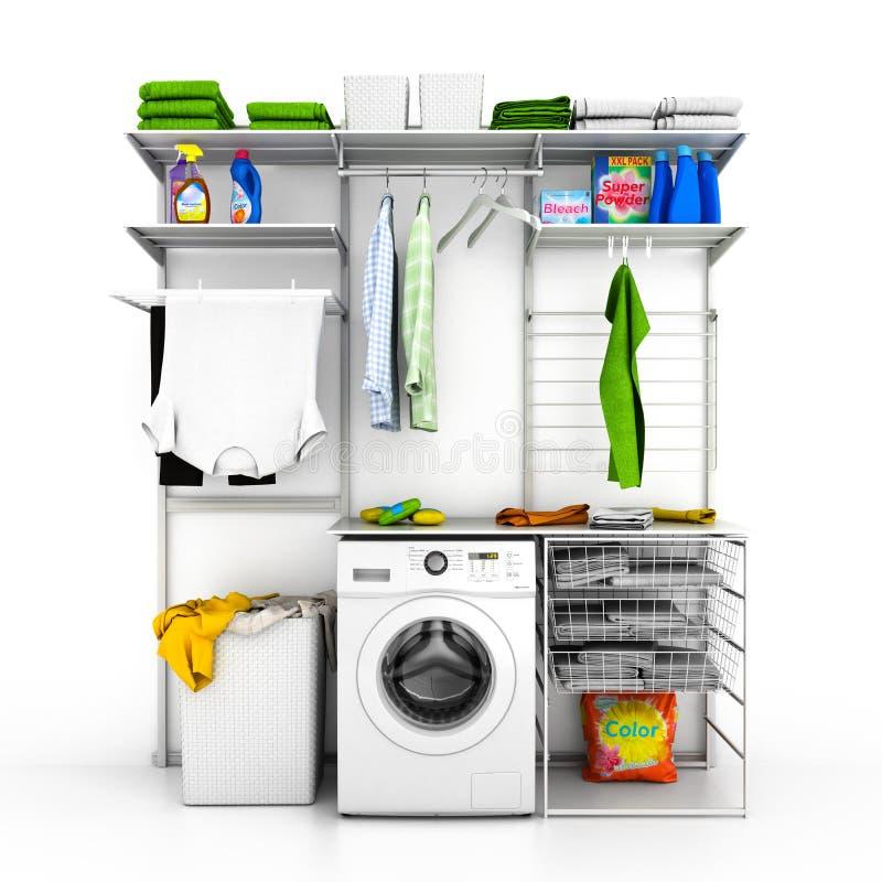 Interior del lavadero casero en un fondo blanco 3d de la pared libre illustration