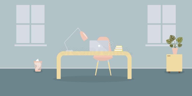 Interior del lugar de trabajo en la oficina moderna en estilo escandinavo Dos ventanas Ilustraci?n del vector Muebles: tabla, sil ilustración del vector