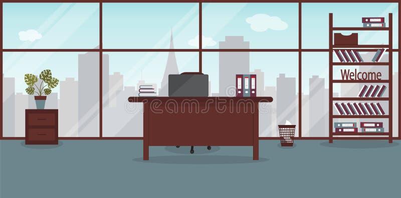 Interior del lugar de trabajo en la oficina moderna Ventana grande con paisaje de la ciudad con los rascacielos Ilustración del v ilustración del vector