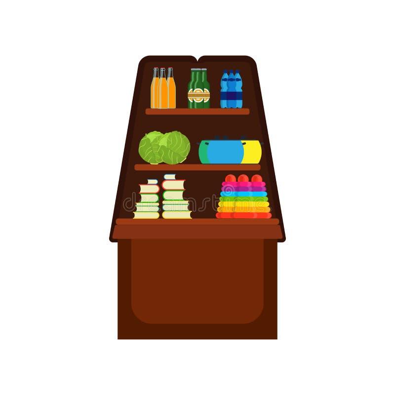Interior del mercado empresarial del icono del vector del estante de la tienda Exposición del producto de la exhibición de la ala stock de ilustración