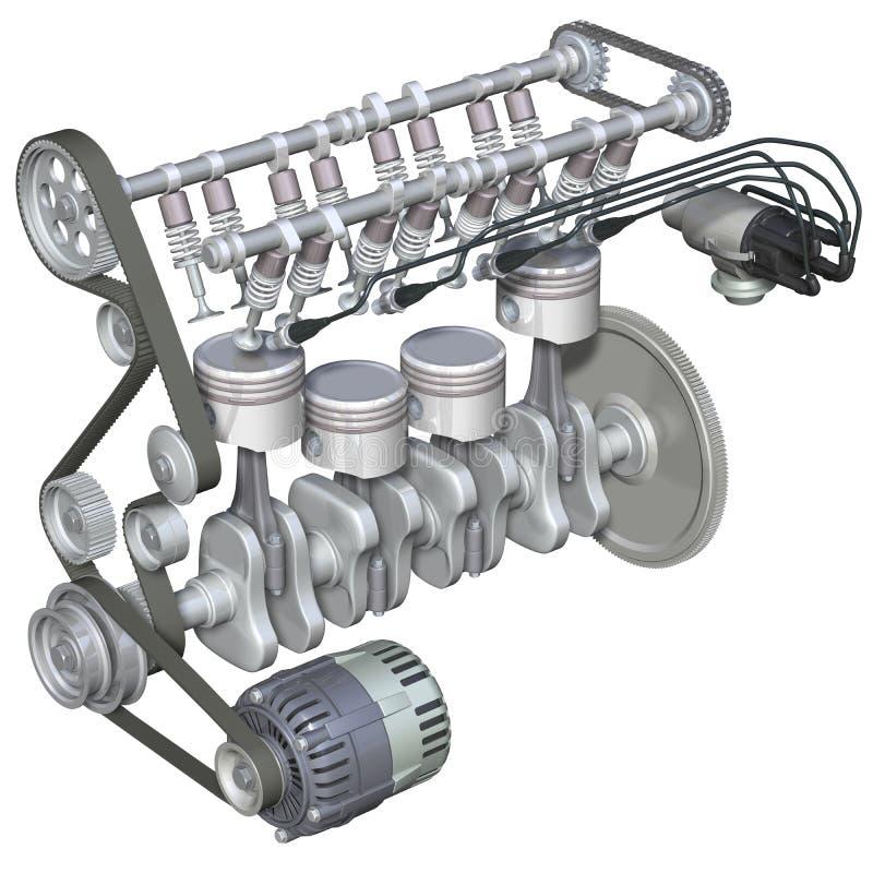 Interior del motor de gasolina ilustración del vector