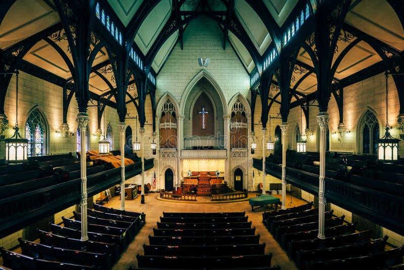 Interior del Mt Vernon Place United Methodist Church en Baltimore, Maryland imagen de archivo libre de regalías