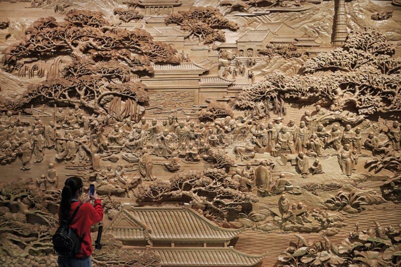 Interior del museo magnífico del templo de Baoen también conocido como torre de la porcelana en provincia de Nanjing, Jiangsu, co foto de archivo