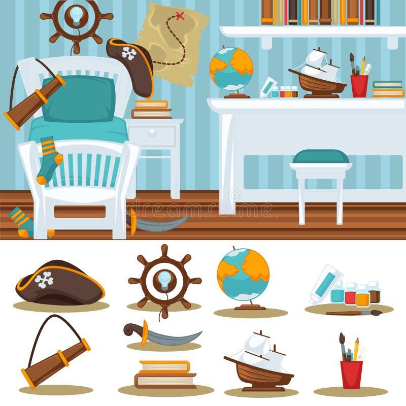 Interior del niño del dormitorio del sitio de los muchachos para el muchacho libre illustration
