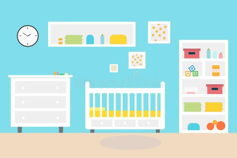 Interior Del Niño Del Dormitorio Del Sitio Del Bebé Muebles Y ...