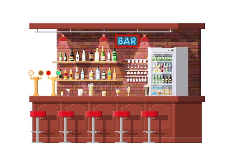 Interior del pub, del café o del contador de la barra stock de ilustración