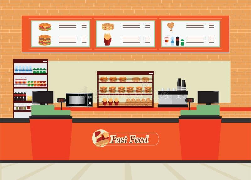 Interior del restaurante de los alimentos de preparación rápida con la hamburguesa y la bebida ilustración del vector