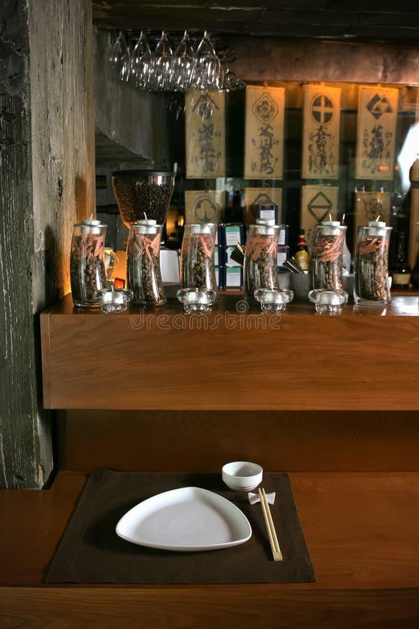 Interior del restaurante japonés fotografía de archivo