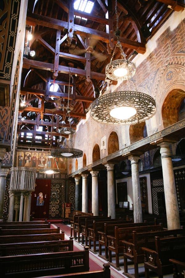 Interior del santo Mary Virgin de la iglesia en El Cairo Egipto imagen de archivo