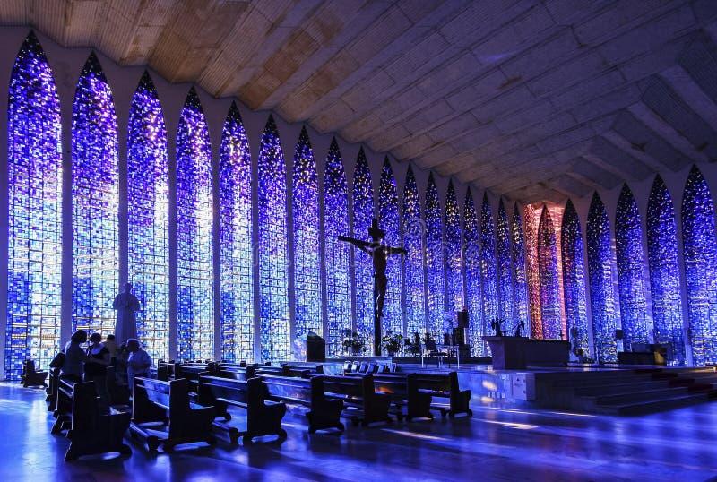 Interior del santuario de Dom Bosco fotos de archivo