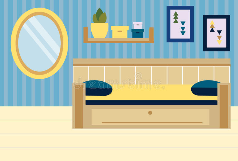 Interior del sitio Apartamento en colores azules y amarillos Diseño del dormitorio con el sofá, estantes, espejo stock de ilustración
