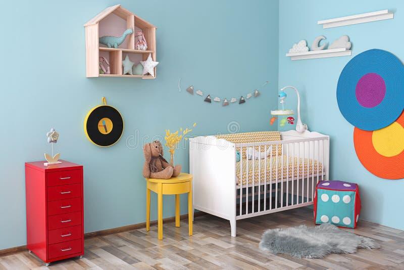 Interior del sitio del bebé con el pesebre foto de archivo libre de regalías