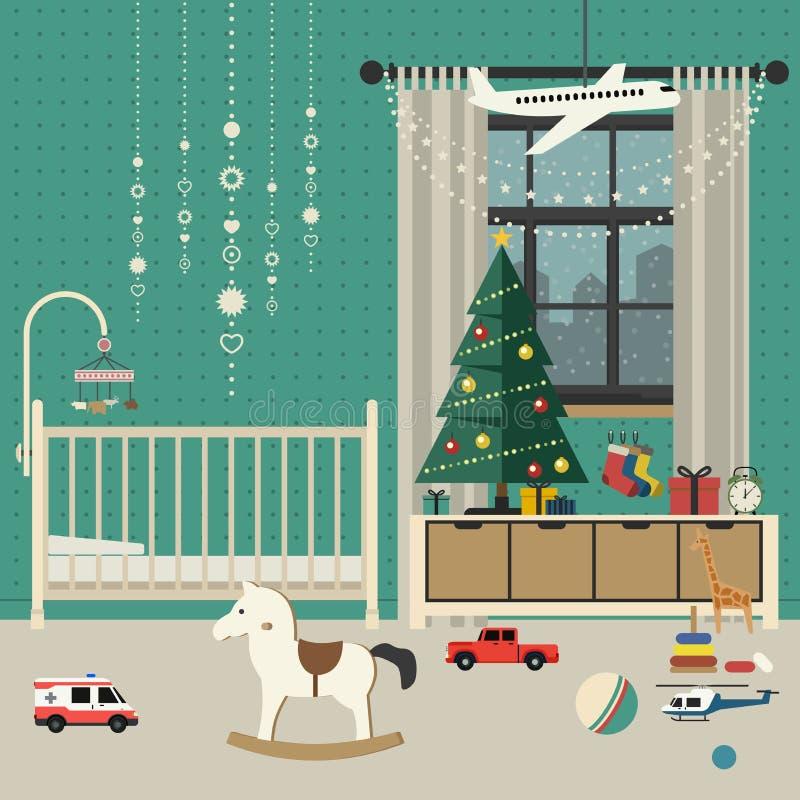 Interior del sitio del bebé de la Navidad stock de ilustración