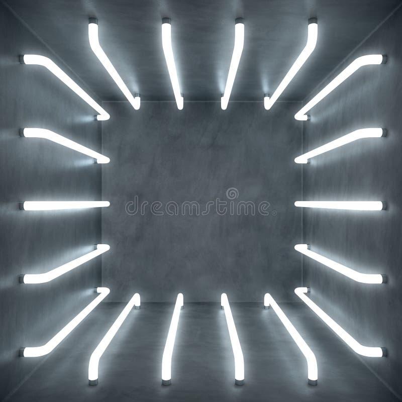 interior del sitio blanco del extracto del ejemplo 3D con las lámparas de neón del tono blanco Fondo futurista de la configuració ilustración del vector