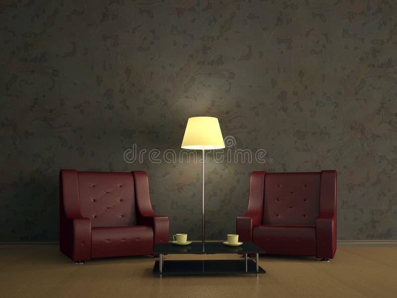 Interior del sitio con dos sillas libre illustration