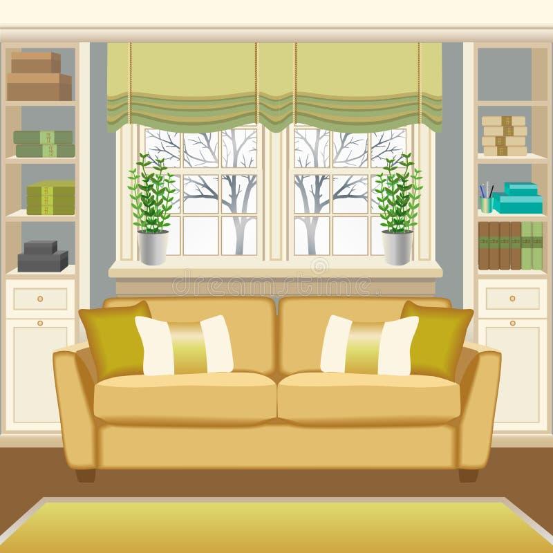 Interior del sitio con el sofá debajo de la ventana y de los estantes para libros libre illustration