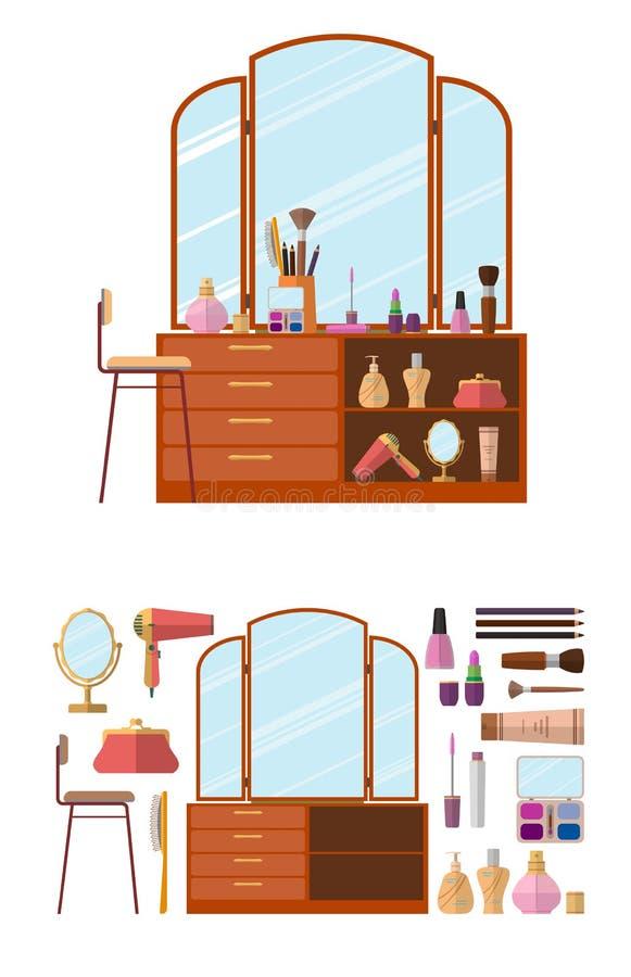 Interior del sitio con el tocador Los cosméticos de la mujer se oponen en el ejemplo plano del vector del estilo Muebles para la  libre illustration